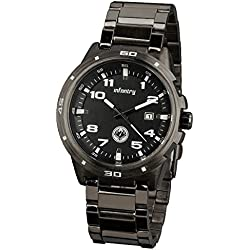 INFANTRY® Mens Analogue Date Display Wrist Watch Military Black Gunmetal Stainless Steel Bracelet Strap