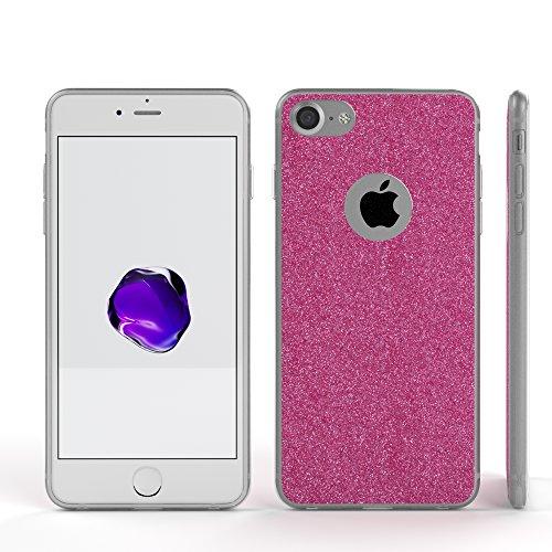 """iPhone 8 Hülle / iPhone 7 Hülle - EAZY CASE Slimcover """"Henna"""" Handyhülle für Apple iPhone 7 & iPhone 8 - Flexible Schutzhülle mit Indischer Sonne Optik in Weiß / Transparent Pink"""