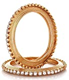 Jewels Galaxy Gold Plated Bangle Set for Women (Golden)(JG-BNG-300-1)