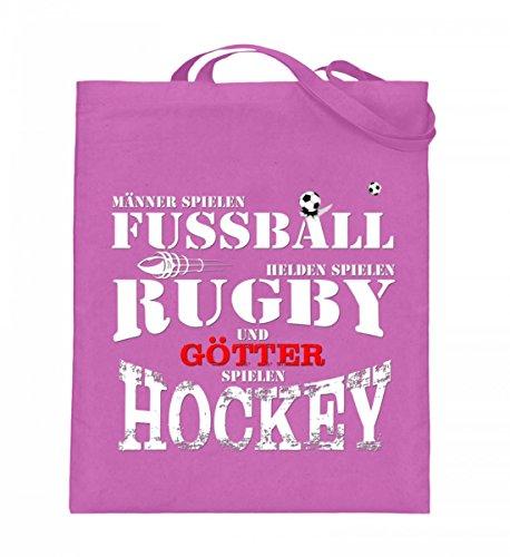 Hochwertiger Jutebeutel (mit langen Henkeln) - Fussball,Rugby,Hockey Pink