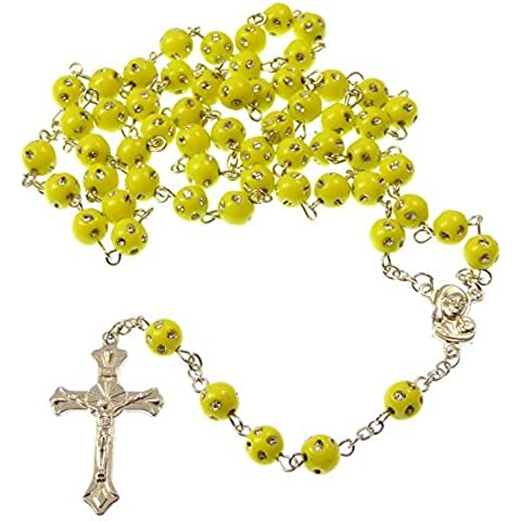 R Heaven - Amarillo plástico redondo rosario de cuentas de collar de plata manchado detalle longitud 53cm