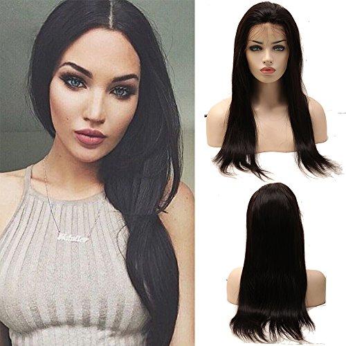Hair Echthaar Perücke Brasilianische Haare Naturschwarz #1B Straight Glatt mit Baby Hair für Frauen 50cm-190g (Perücken Für Babys)