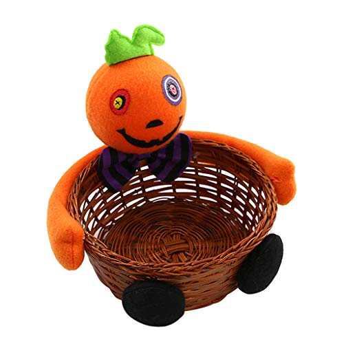Exing Phantompuppe Hexe, Halloween, Süßigkeitenkorb, Snack-Korb aus Bambus, Hausdekoration one size C -