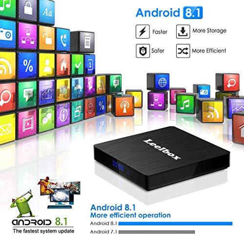 Android 8.1 TV Box,  Android Box 4 GB RAM 32 GB ROM,  Leelbox Q4 MAX RK3328 Quad Core 64 bit Smart TV Box,  Wi- Fi integrato,  BT 4.1,  Box TV UHD 4K TV,  USB 3.0 …