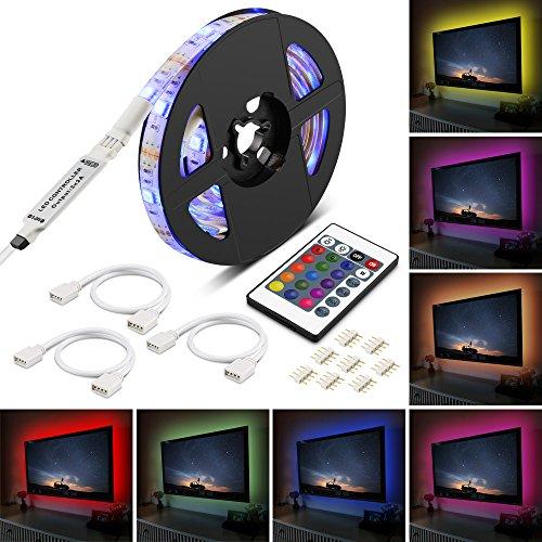 LED TV Hintergrundbeleuchtung,Furado 2m LED Streifen TV,USB Powered RGB LED TV Beleuchtung SMD5050 Wasserdich LED Bias Beleuchtung für TV, LED Strip Lichtband mit 24 Tasten IR Fernbedienung für 40 bis 65 Zoll HDTV,TV-Bildschirm und PC-Monitor [Energieklasse A +]