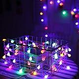 Prevently Vintage Birnen Lichterkette Außen10M 80LED Batterielichtfaden kreative dekorative Licht Haushalt Urlaub Zimmer Batterie Außenleuchte (Mehrfarbig)