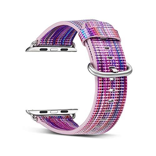 Webla kopfhörer kabel aufbewahrungstasche wickler beschützer lila leder ersatz armbanduhr band für apple iwatch smart watch 40mm (b)