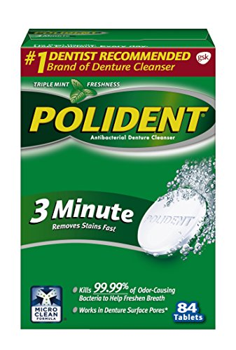 Polident 3-Minute Anti-Bacterial Denture Cleanser Tablets, Triple