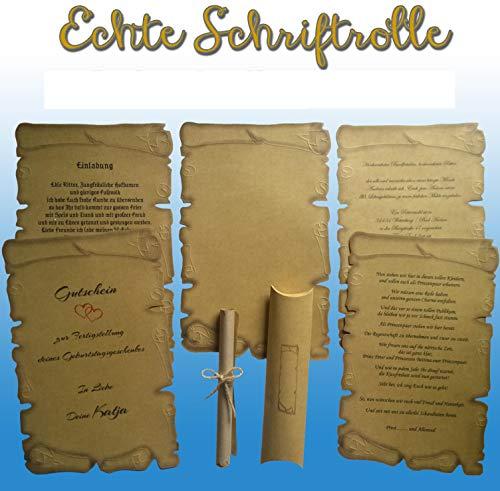 20 Schriftrollen + Kissenschachtel, Mittelalter Pergamentpapier, Für Urkunden, Gutschein usw.