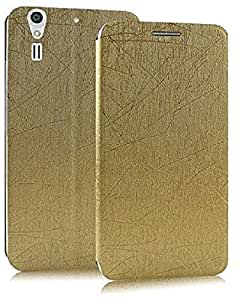 Heartly Premium Luxury PU Leather Flip Stand Back Case Cover For ZTE Grand S2 II S291 S251 - Hot Gold