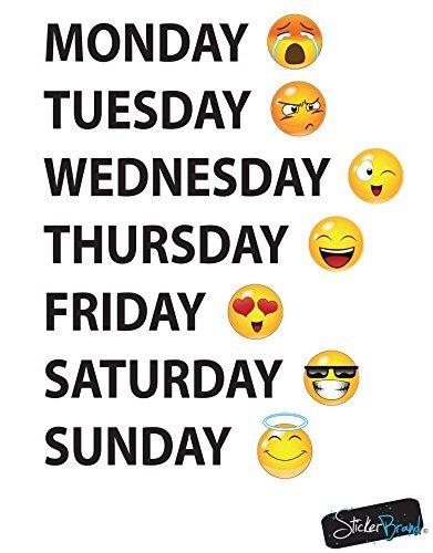 Stickerbrand Emoji-Wandtattoo der Wochentage 22in Hoch X 17in Breite schwarz-Text (Dollar Mädchen Artikel)