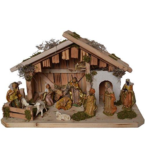 Alfred Kolbe Krippen 1356/11 G Weihnachtskrippe aus Holz für 10-12 cm Figuren 50 x 25 x 30 cm