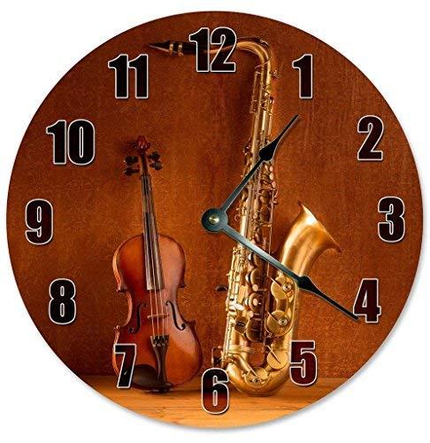 HSSS Vintage Saxophon und Viola Uhr Dekorative runde Holz-Wanduhr - 30,5 cm