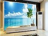 WH-PORP Fototapete Benutzerdefinierte 3D Wandbild Wohnzimmer Malediven Landschaft Foto Malerei Sofa Tv Hintergrund Vliestapete Für Wände 3D-300cmX210cm
