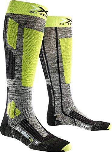 X-Socks Rider 2.0 Chaussettes de Ski Homme, Grey Melange/Green Lime, FR : L (Taille Fabricant : 42-44)