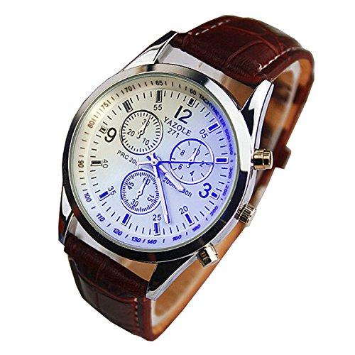 Chianrliu Luxus-Mode Kunstleder Herren Blue Ray Glas Quartz Analog Uhren Braun