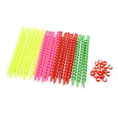 sourcingmap 19stk Multi-Farbe 18cm Plastik Haar Spule Stock Spiral Locken DIY Styling Werkzeuge