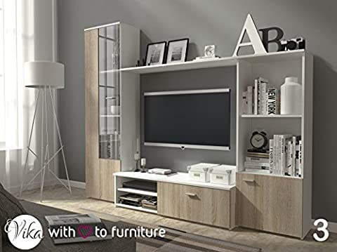TV unit HUGO . Wall unit Living room furniture (White + oak sonoma)
