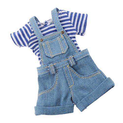 Sharplace 2pcs/ Set Puppenkleidung für Blythe Puppe Zubehör - Streifen T-Shirt & Trägerhose Jeans Hosen - Blau, 10.5cm -