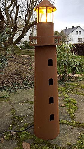 Maison en France Leuchtturm 116 cm,-elektrischer Leuchturm,EIN echter Hingucker-, aus Metall und Edelrost für Haus und Garten -