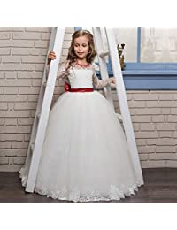 Vestido de novia de niña Vestido de encaje con cuentas rojas de niña pequeña Vestido de