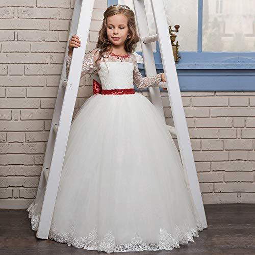 Kostüm Cosplay Prinzessin Party Kleid rote Krawatte Bogen Blume mit Diamanten volle Spitze Langarm Blumenmädchen Flauschige Brautkleid Schicke Party (Größe : 12-13T)