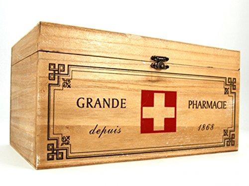 Holz Medizin Aufbewahrungsbox Erste Hilfe Shabby Vintage Pharmacie Badezimmer Küche Medizin Box