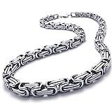 Herren Halskette - SODIAL(R)Schmuck Herren-Kette, Edelstahl Biker Koenigskette Halskette, Silber, Breite 8mm, Laenge 55cm