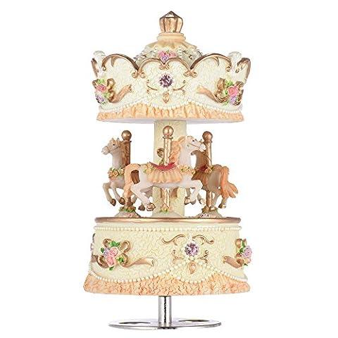 ammoon laxury aufziehbare 3et cheval Carrousel Horloge Artware/Gift Mélodie de jeu château dans le ciel rose/mauve/Bleu/Or Ombre pour option or