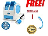 #6: Renyke Mini Fan & Portable Dual Bladeless Small Air Conditioner Water Air Cooler Powered By Usb & Battery Use Of Car/Home/Office (Color May Vary)