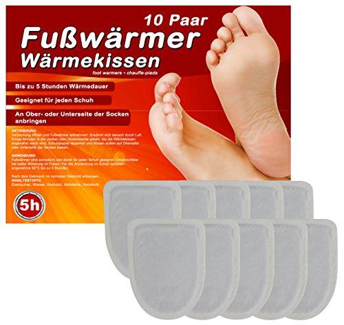 10 Paar Fußwärmer Zehenwärmer Pads Wärmekissen für Schuhe, Schuh Wärmepads für warme Zehen und Füße, Dünne Heiz-Pads passend für Alle Schuhe