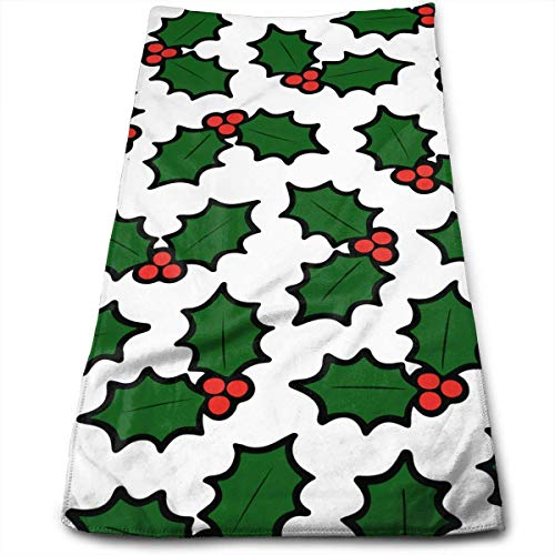 DDHHFJ Holly Leaves and Berries Pattern in Light Green Microfiber Clean Towels Face Towels Super-Absorbent Hand Hair Towels for Bath, Spa, Gym -12