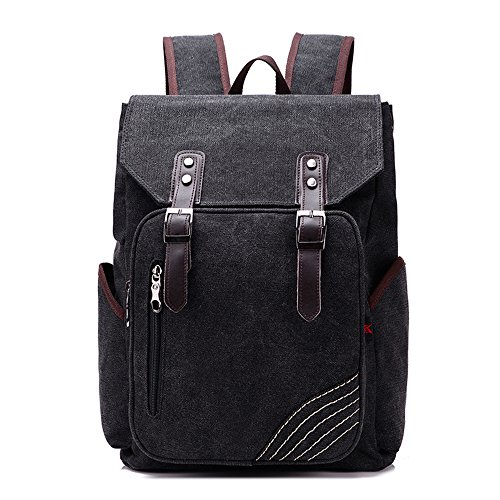 BYD - Uomo Unisex Large School Bag zainetto backpack Travel Bag Canvas Bag Borse a mano Borse a spalla with Mutil Function Pocket and Double PU Leather Strap Nero