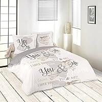 LOVELY CASA Ritournelle Housse de couette 260 x 240 cm avec 2 Taies d'oreiller 63 x 63 cm, Coton, Beige