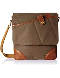 Hidesign Leather-Canvas Desert Palm and Tan Messenger Bag (CHEROKEE 03)