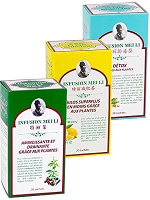 Assortiment de 3 thés MINCEUR - Infusion Mei Li - Fine Tonic # Amincissante et Drainante # Kilos Superflus en moins # Détox - 3 Boites de 20 Sachets