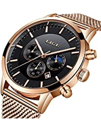 Lge Men's Watch Fashion Chronograph Stainless Steel Waterproof Black Quartz Milanese Mesh Bracelet