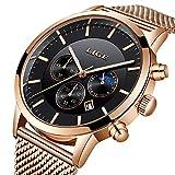 Reloj de Pulsera para Hombre, de Acero Inoxidable, Resistente al Agua, con Correa de Malla de Cuarzo, Sumergible, Color Negro