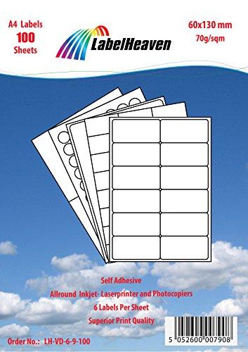 Labelheaven LH-VD-6-9-200, 1200 Stück (200 Blatt A4) Universal-Etiketten 60x130 mm, selbstklebend, mittelstark klebend, 70g/qm, geeignet für Inkjet- und Laserdrucker. (Lh 130 9)