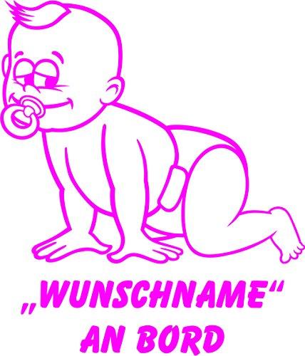 INDIGOS UG - Babyaufkleber / Kinderaufkleber 077 mit Wunschname / Wunschtext an Bord ca. 20 cm Höhe - Autoaufkleber in verschiedenen Farben