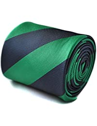 Frederick Thomas dark green and navy blue barber striped tie with floral design to the rear