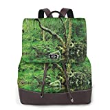 Women's Leather Backpack,Forest Moss Leaves Nature Themed Isolated Jungle Image Photo Print,School Travel Girls Ladies Rucksack