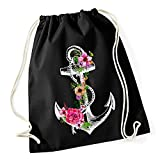 Turnbeutel Blumen Anker Ethno Boho Hipster Beutel Tasche Gym Bag Watercolour Watercolour Autiga® schwarz