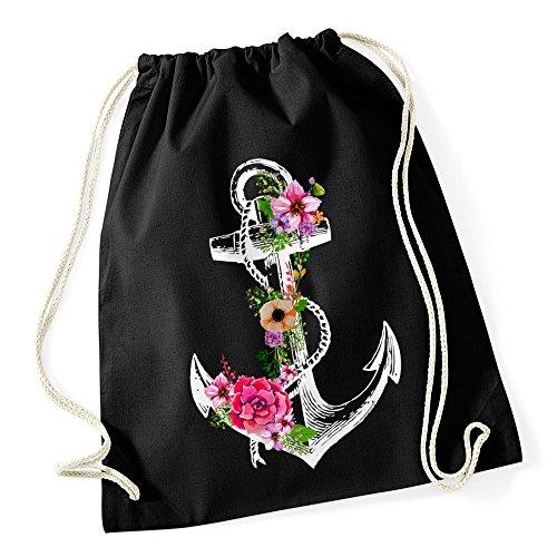 Autiga Turnbeutel Blumen Anker Ethno Boho Hipster Beutel Tasche Gym Bag Watercolour Watercolour schwarz