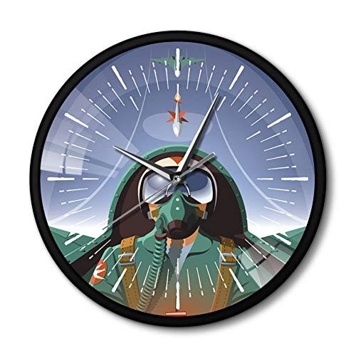 FUFUCHEN Military Pilot In Flugzeug Cockpit Flugzeug Wanduhr Mit Schwarz Metall Rahmen Die Fliegen Flugzeug Jet Aviator Wand Kunst Uhr Uhr