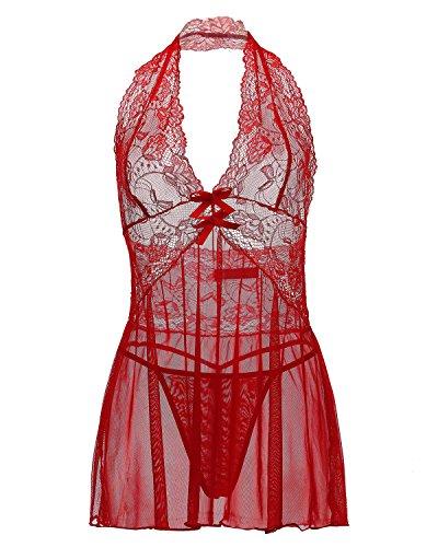ZANZEA Femmes Eté Sexy Halter Lingerie Perspective Bodydolls Dentelle Nuisette Ensemble 1 Vest + 1 String Rouge
