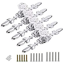 BSTKEY 5 Pack Clear Crystal Rose Drawer Knobs with Silver Plate - Diamond Shape Cabinet Drawer Knob Drawer Pull Handle Cupboard Wardrobe Drawer Pull Handle Furniture Knobs with Screws (170mm)