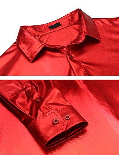 Coofandy Herren Hemd für Casual, Kleid Kostüm bronzierens Regelmäßig Fit Button - Down - Langarm Freizeit Formale Metallic - Farbe Rot