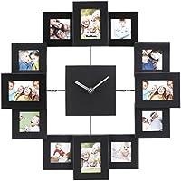 VonHaus Marco de fotos con reloj (12 marcos de fotos, aluminio cepillado), color negro