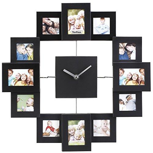 VonHaus Family Time Fotorahmen Bilderrahmenuhr Uhr Aluminium Schwarz Für 12 Fotos